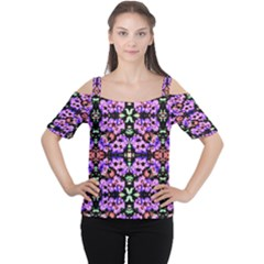 Purple Green Flowers With Green Women s Cutout Shoulder Tee