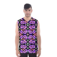 Purple Green Flowers With Green Men s Basketball Tank Top