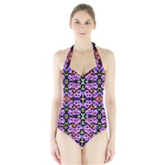 Purple Green Flowers With Green Women s Halter One Piece Swimsuit