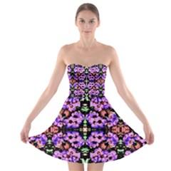 Purple Green Flowers With Green Strapless Bra Top Dress