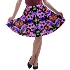 Purple Green Flowers With Green A-line Skater Skirt
