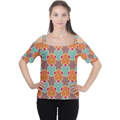 Stars and honeycombs pattern Women s Cutout Shoulder Tee