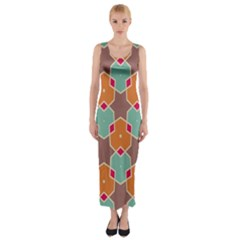 Stars and honeycombs pattern Fitted Maxi Dress