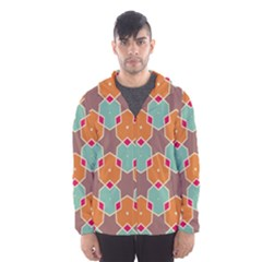 Stars And Honeycombs Pattern Mesh Lined Wind Breaker (men)