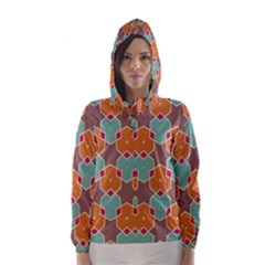 Stars and honeycombs pattern Hooded Wind Breaker (Women)