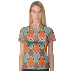 Stars And Honeycombs Pattern Women s V Neck Sport Mesh Tee