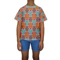 Stars and honeycombs pattern  Kid s Short Sleeve Swimwear