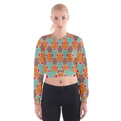 Stars and honeycombs pattern   Women s Cropped Sweatshirt