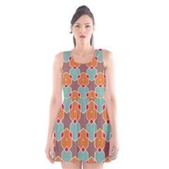 Stars and honeycombs pattern Scoop Neck Skater Dress