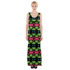 Shapes on a black background pattern Maxi Thigh Split Dress