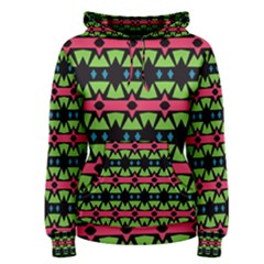 Shapes On A Black Background Pattern Women s Pullover Hoodie