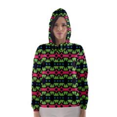 Shapes on a black background pattern Hooded Wind Breaker (Women)