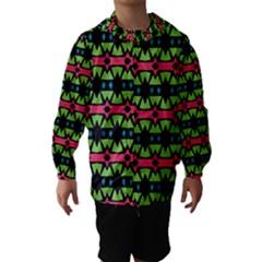 Shapes On A Black Background Pattern Hooded Wind Breaker (kids)
