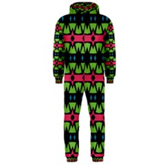 Shapes On A Black Background Pattern Hooded Jumpsuit (men)