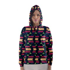 Triangles and other shapes Hooded Wind Breaker (Women)