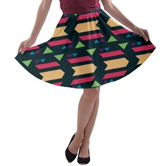 Triangles and other shapes A-line Skater Skirt