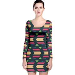 Triangles And Other Shapes Long Sleeve Velvet Bodycon Dress
