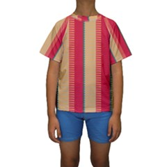 Stripes and other shapes  Kid s Short Sleeve Swimwear