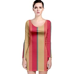 Stripes and other shapes Long Sleeve Velvet Bodycon Dress
