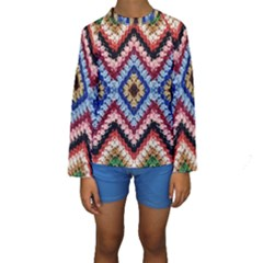 Colorful Diamond Crochet Kid s Long Sleeve Swimwear
