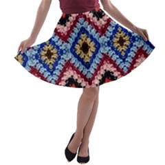Colorful Diamond Crochet A-line Skater Skirt