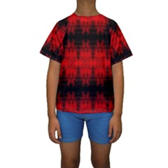 Red Black Gothic Pattern Kid s Short Sleeve Swimwear