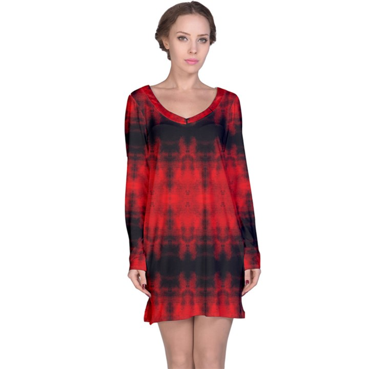 Red Black Gothic Pattern Long Sleeve Nightdresses