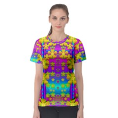 Outside the curtain it is peace florals and love Women s Sport Mesh Tee