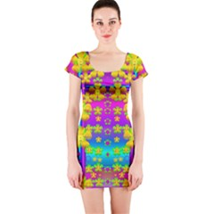 Outside the curtain it is peace florals and love Short Sleeve Bodycon Dress