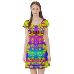 Outside the curtain it is peace florals and love Short Sleeve Skater Dress