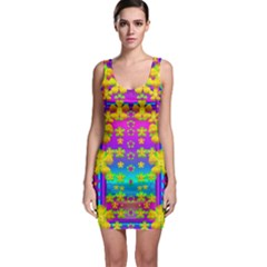 Outside the curtain it is peace florals and love Bodycon Dress