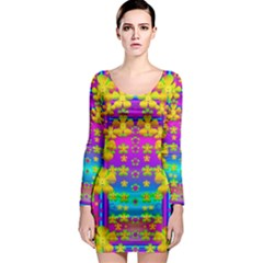Outside the curtain it is peace florals and love Long Sleeve Bodycon Dress