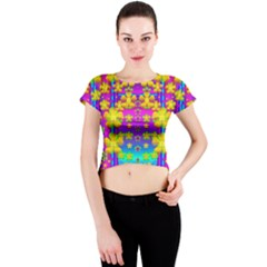 Outside the curtain it is peace florals and love Crew Neck Crop Top