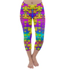 Outside the curtain it is peace florals and love Capri Winter Leggings