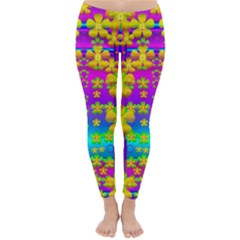 Outside the curtain it is peace florals and love Winter Leggings