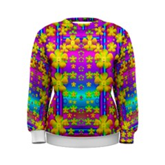 Outside the curtain it is peace florals and love Women s Sweatshirt