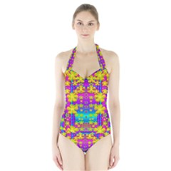 Outside the curtain it is peace florals and love Women s Halter One Piece Swimsuit