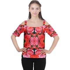 Beautiful Red Roses Women s Cutout Shoulder Tee
