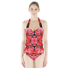 Beautiful Red Roses Women s Halter One Piece Swimsuit