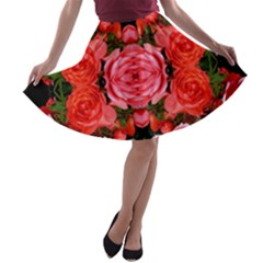 Beautiful Red Roses A-line Skater Skirt