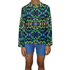 Cool Green Blue Yellow Design Kid s Long Sleeve Swimwear