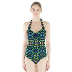 Cool Green Blue Yellow Design Women s Halter One Piece Swimsuit