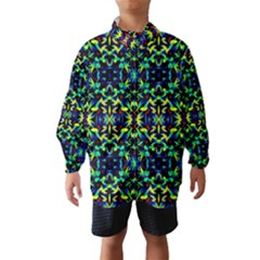 Cool Green Blue Yellow Design Wind Breaker (Kids)