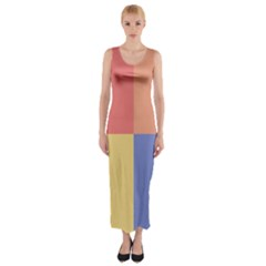 4 Squares Fitted Maxi Dress