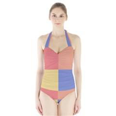 4 squares Women s Halter One Piece Swimsuit