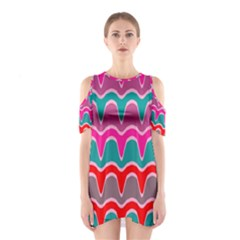 Waves pattern Women s Cutout Shoulder Dress