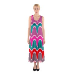 Waves pattern Full Print Maxi Dress