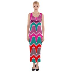 Waves pattern Fitted Maxi Dress