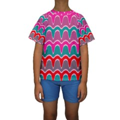 Waves pattern  Kid s Short Sleeve Swimwear
