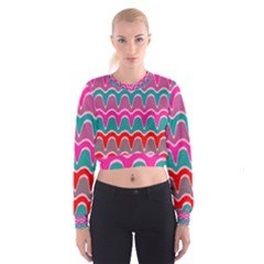 Waves pattern   Women s Cropped Sweatshirt